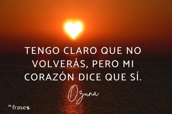 Frases de Ozuna - Tengo claro que no volverás, pero mi corazón dice que sí.