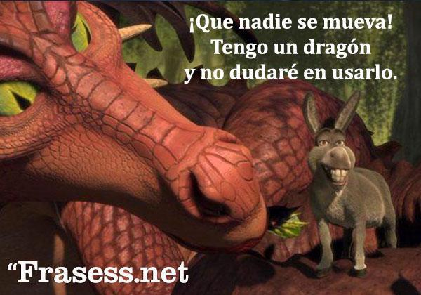 Frases de Shrek - ¡Que nadie se mueva! Tengo un dragón y no dudaré en usarlo.