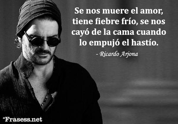 Frases de Ricardo Arjona - Se nos muere el amor, tiene fiebre de frío, se nos cayó de la cama cuando lo empujó el hastío.