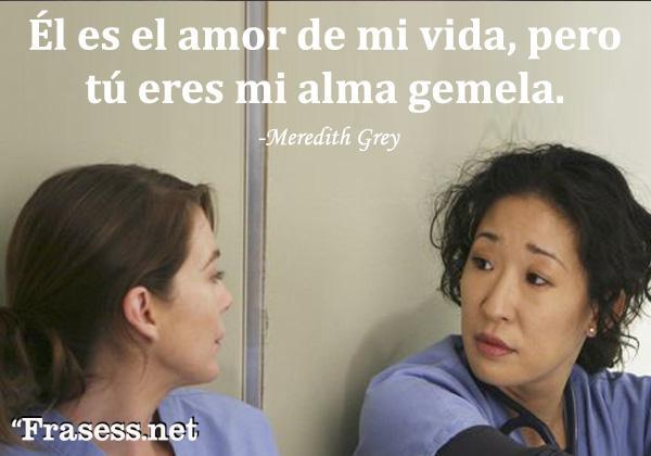 Frases de Grey's Anatomy - Él es el amor de mi vida, pero tú eres mi alma gemela.