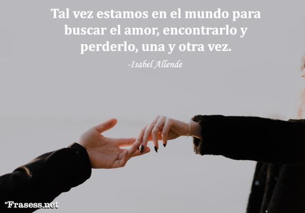 Frases de Isabel Allende - Tal vez estamos en el mundo para buscar el amor, encontrarlo y perderlo, una y otra vez.