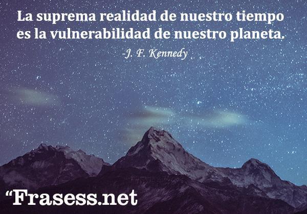 Frases del medio ambiente - La suprema realidad de nuestro tiempo es la vulnerabilidad de nuestro planeta.