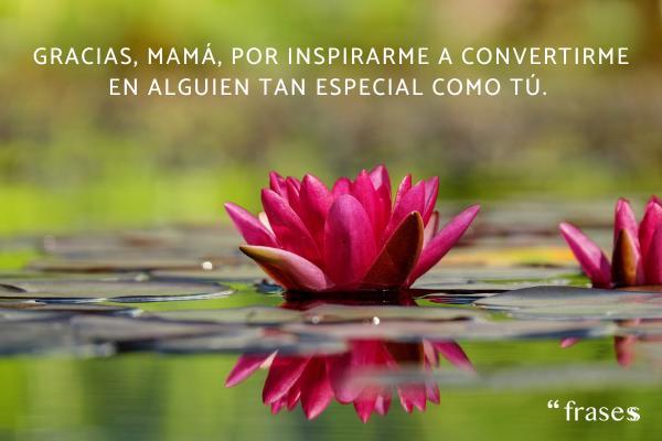 Frases para una madre fallecida - Gracias, mamá, por inspirarme a convertirme en alguien tan especial como tú.