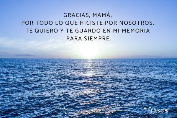 Frases para una madre fallecida - Gracias, mamá, por todo lo que hiciste por nosotros. Te quiero y te guardo en mi memoria para siempre.