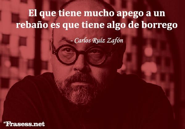Frases de Carlos Ruiz Zafón - El que tiene mucho apego a un rebaño es que tiene algo de borrego