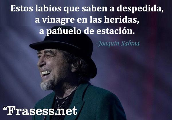 Frases de Joaquín Sabina - Estos labios que saben a despedida, a vinagre en las heridas, a pañuelo de estación.