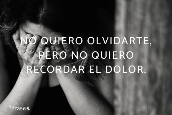 Frases para llorar - No quiero olvidarte, pero no quiero recordar el dolor.