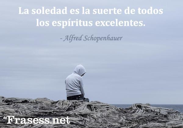 Frases de soledad - La soledad es la suerte de todos los espíritus excelentes.