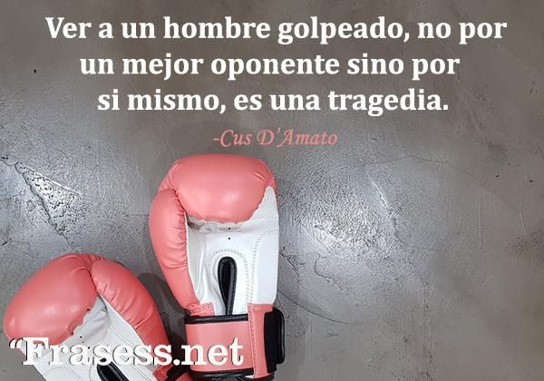 Frases de Boxeo - Ver a un hombre golpeado, no por un mejor oponente, sino por mi mismo, es una tragedia.