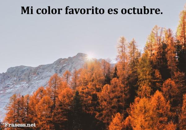 Frases de octubre - Mi color favorito es octubre.