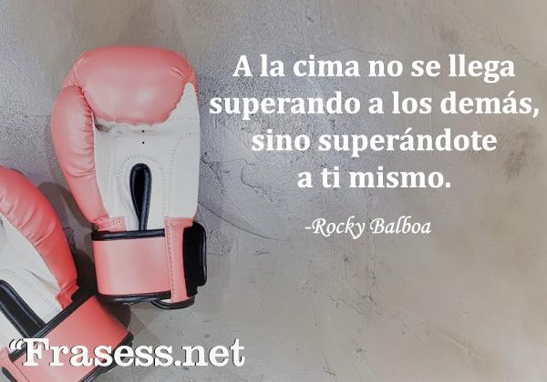 Frases de Rocky - A la cima no se llega superando a los demás, sino superándote a ti mismo.
