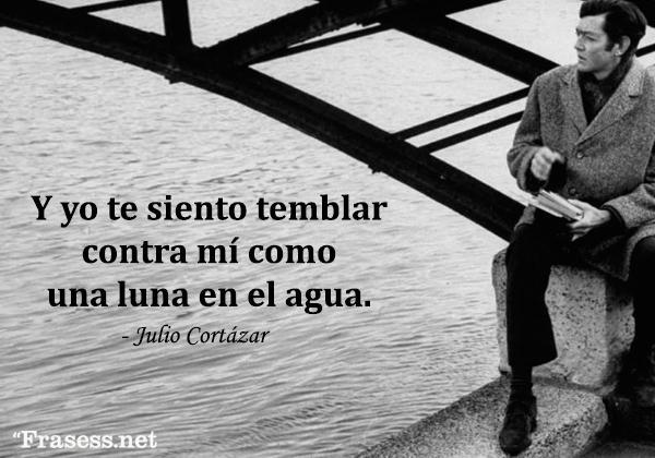 Frases de Julio Cortázar - Y yo te siento temblar contra mí como una luna en el agua.