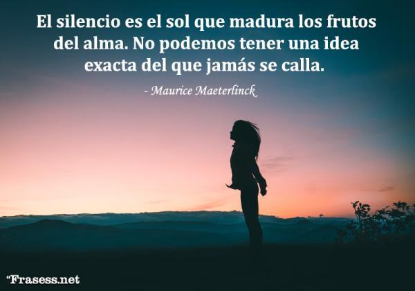 Frases sobre el silencio - El silencio es el sol que madura los frutos del alma. No podemos tener una idea exacta del que jamás se calla.