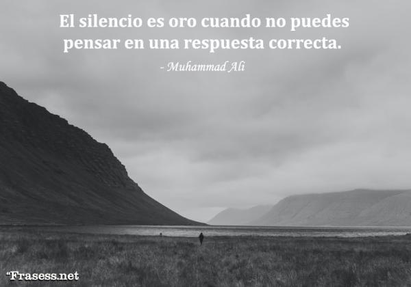 Frases sobre el silencio - El silencio es oro cuando no puedes pensar en una respuesta correcta.