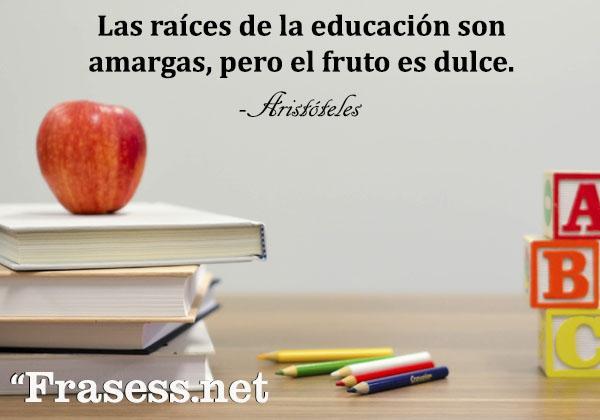 Frases motivadoras para estudiar - Las raíces de la educación son amargas, pero el fruto es dulce.