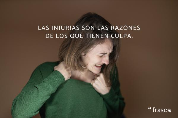 Frases de culpa -  Las injurias son las razones de los que tienen culpa.