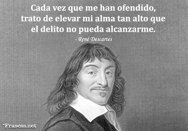 Frases de René Descartes - Cada vez que me han ofendido, trato de elevar mi alma tan alto que el delito no pueda alcanzarme.