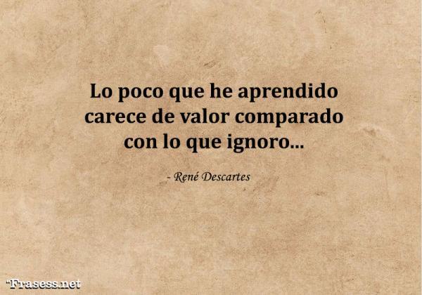 Frases de René Descartes - Lo poco que he aprendido carece de valor comparado con lo que ignoro...