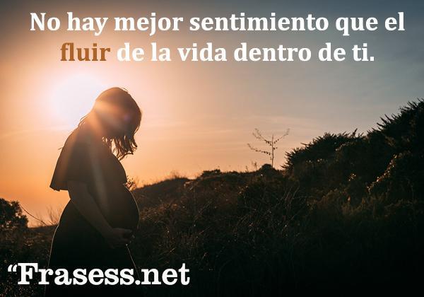Frases de embarazo - No hay mejor sentimiento que el fluir de la vida dentro de ti.