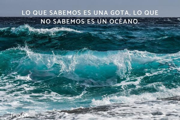 Frases de Isaac Newton - Lo que sabemos es una gota, lo que no sabemos es un océano.