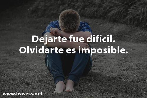 Frases de desilusión - Dejarte fue difícil. Olvidarte es imposible.