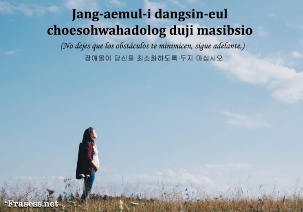 Frases en coreano de amor y su significado - 장애물이 당신을 최소화하도록 두지 마십시오 (jang-aemul-i dangsin-eul choesohwahadolog duji masibsio) No dejes que los obstáculos te minimicen, sigue adelante.