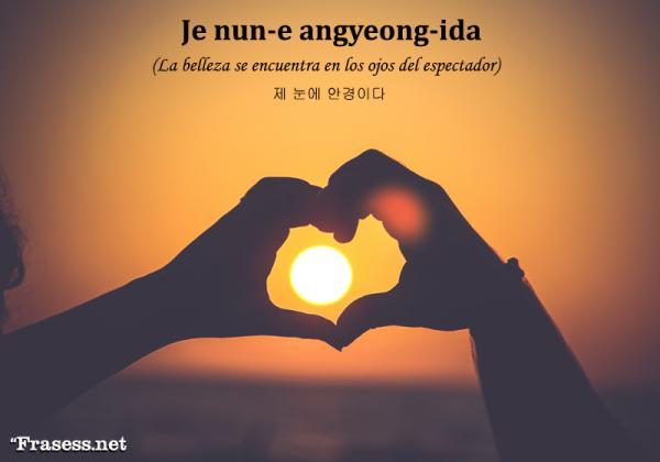 Frases en coreano de amor y su significado - 제 눈에 안경이다 (Je nun-e angyeong-ida) La belleza se encuentra en los ojos del espectador.