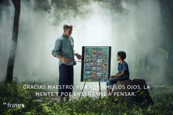Frases del Día del Maestro - Gracias maestro, por abrirme los ojos, la mente y por enseñarme a pensar.