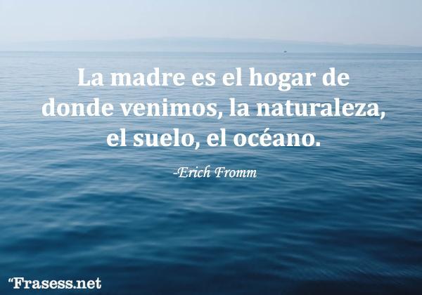 Frases de Erich Fromm - La madre es el hogar de dónde venimos, la naturaleza, el suelo, el océano.