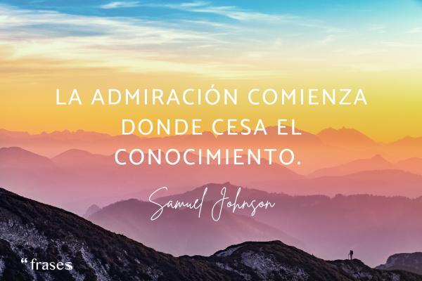 Frases de admiración a una persona - La admiración comienza donde cesa el conocimiento.