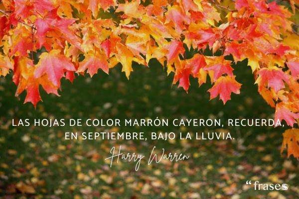 Frases de septiembre - Las hojas de color marrón cayeron, recuerda, en septiembre, bajo la lluvia.