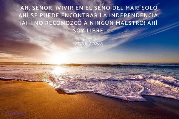 Frases de Julio Verne - Ah, señor, ¡Vivir en el seno del mar! Solo ahí se puede encontrar la independencia. ¡Ahí no reconozco a ningún maestro! Ahí soy libre.