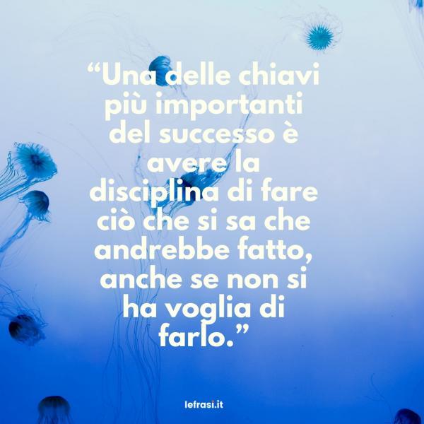 Frasi sul Successo - Una delle chiavi più importanti delsuccesso è avere la disciplina di fare ciò che si sa che andrebbe fatto, anche se non si havoglia di farlo.