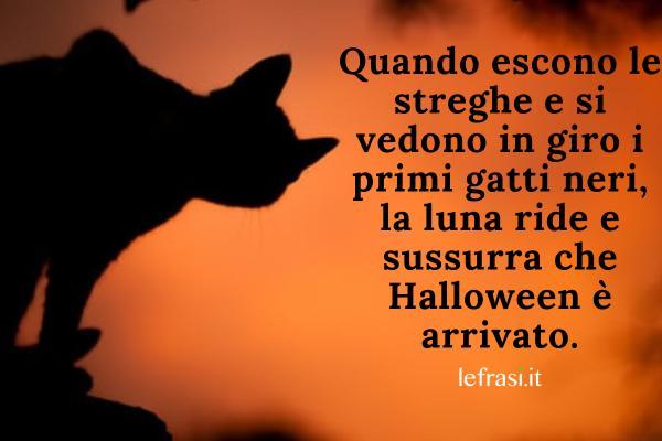 Frasi su Halloween - Quando escono le streghe e si vedono in giro i primi gatti neri, la luna ride e sussurra che Halloween è arrivato.