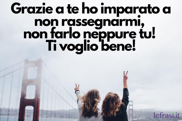 Ti voglio bene amica mia: le frasi più belle - Grazie a te ho imparato a non rassegnarmi, non farlo neppure tu! Ti voglio bene!