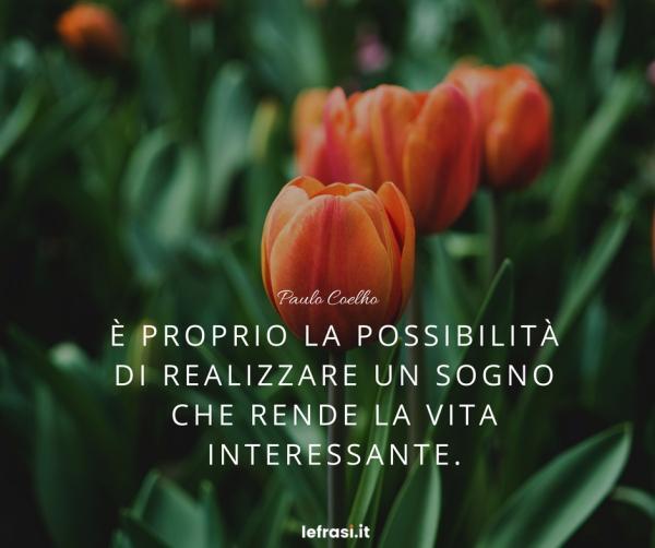 Frasi di Paulo Coelho - È proprio la possibilità di realizzare un sogno che rende la vita interessante.