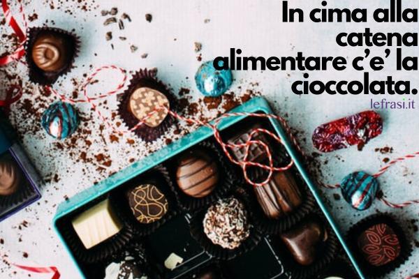 Frasi sul cioccolato - In cima alla catena alimentare c'e' la cioccolata.