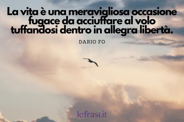 Frasi sulla pace - La vita è una meravigliosa occasione fugace da acciuffare al volo tuffandosi dentro in allegra libertà.