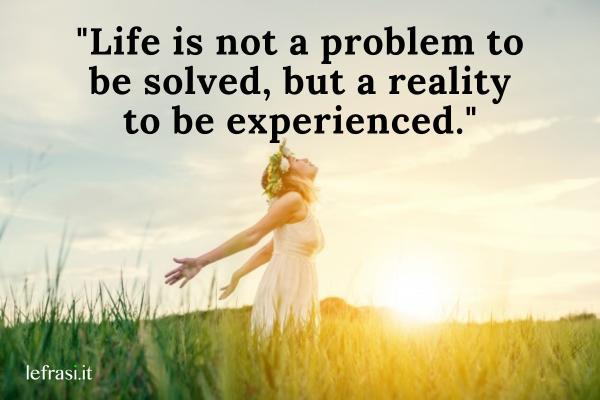 Frasi per Instagram in inglese - Life is not a problem to be solved, but a reality to be experienced. (La vita non è un problema da risolvere, è una realtà da vivere).